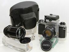 ASAHI PENTAX SV 35mm SLR W/ Meter, 50mm f1.8 & 135mm f3.5 Takumars TESTED EX!!!
