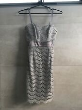 Portmans Dress, size 6, Strapless, Silver Satin with Silver Overlay
