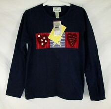 Quacker Factory Women Embellished T-Shirt Sz L Hearts Star Long Sleeve CB91A NWT