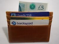 Top Quality Real Leather Credit Card Holder Slim Tan Colour