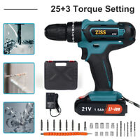 "21V Cordless Electric Hammer Drill 3/8"" Screwdriver Drill Power Tool Kit Set USA"