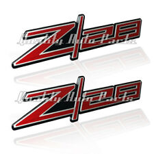 2 - NEW Z28 Anodized Brush Aluminum and Red Adhesive Emblem Badges (Z28 RED)