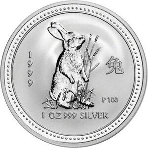 BU 1999 Lunar Zodiac Proof Silver Year of the Rabbit 1 Oz 999 Fine Silver Coin