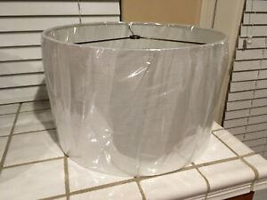 "White Cream Beige Woven Textured Fabric Drum Modern Canvas Lampshade 16"""