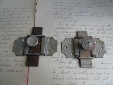 French antique iron latch locks slide set of 2 hardware country classic
