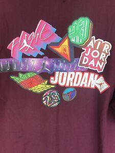 Air Jordan Graphic T Shirt Maroon XL Tall Retro Patches