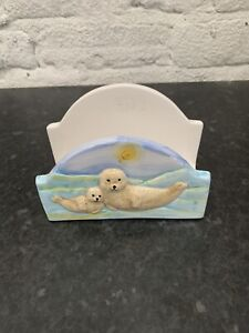 Freestanding Ceramic Letter Rack Mail Holder Porcelain Hand Painted / Beach