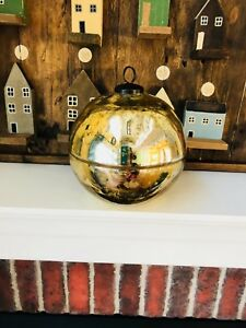 Pottery Barn Ornament Candle Gold Large Decor Christmas Mercury Glass Scented