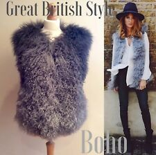 MONGOLIAN WOOL FUR  GILLET GREY HOOK EYE FASTEN