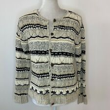 Talbots Size SP Small Petite Cardigan Sweater Heart Buttons Hand Knit Cotton