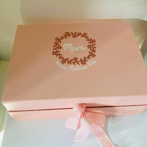 Personalised Gift Or Memory Box- Pink Magnetic- Any Wording Can Be Added