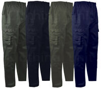 Mens Elasticated Waist Rugby Trousers Cargo Combat Bottoms Twill Cotton M-2XL