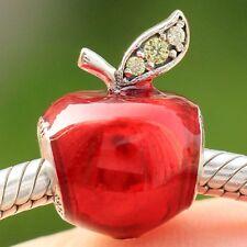S925 Sterling Silver Disne Snow White's Apple Red Enamel CZ Charm Fit Bracelet