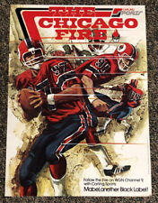 1974 WFL World Football League Chicago Fire Poster WGN 9 Carling Black Label