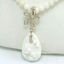 White Agate Beaded Necklace Carved Pendant 925 Silver