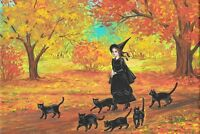 4X6 HALLOWEEN POSTCARD PRINT LE 7/150 RYTA VINTAGE STYLE BLACK CAT WITCH FOLK