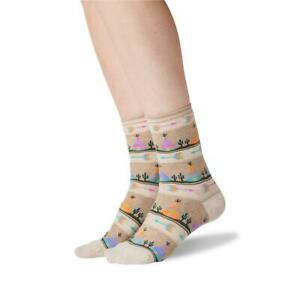 Tee Pee Hot Sox Women's Crew Socks Oatmeal Heather New Novelty Heritage Fashion