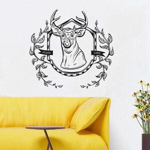 Wall Room Decor Art Vinyl Sticker Mural Decal Animal Deer Elk Hunting Wood FI159