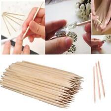 100 Pcs Cool Wood Sticks Cuticle Pusher Remover Pedicure Manicure Tool Nail Art