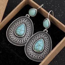 Vintage Silver Ethnic Indian Boho Teardrop Turquoise Earrings UK Seller