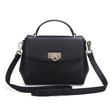 UScarmen Women's Logo Embossed Small Top Handle Leather Satchel 1611 BLACK