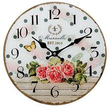 Küchenuhr Wanduhr Landhausstil Rosen Glas Uhr Nostalgie Stil Weiß Grün Quartzuhr
