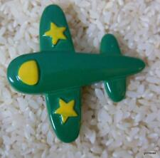 "with Yellow Stars Plastic 2"" Fun Green Airplane Pin Brooch"