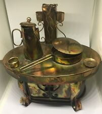 Vintage Copper Tin Stove Music Box Oh What A Beautiful Morning Moving Pieces