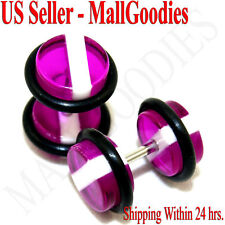 1141 Fake Cheaters Faux Illusion Ear Plugs 16G Purple White Stripes 0G Studs