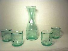 Highbury Fleur De Lis Recycled Rustic Wine Carafe and (4) Glasses Brand New Item