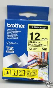 BROTHER P-TOUCH TAPE TZ-C31 BLACK ON  FLUO YELLOW 12MM