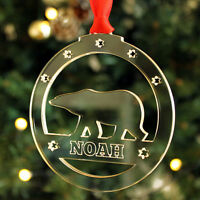 Personalised Name Polar Bear Christmas Tree Decoration Keepsake Xmas Bauble Gift