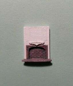 """Dollhouse Miniature 1:144 Scale Full Wood and Gray Brick Fireplace """"ASSEMBLED"""""""