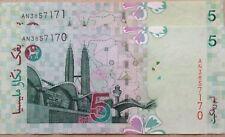 RM5 Zeti sign 2 pcs First Prefix Running Number Note AN 3857170 - 171