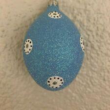 Patricia Breen Ornament - Easter Egg - Blue Medallion. Glittered. Restricted
