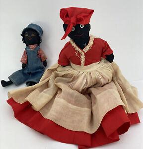 Antique Early Primitive BLACK AMERICANA Slave Rag Dolls ,Mother And Son👀 Unique