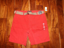NWT Mens NAUTICA Sailor Red Khaki Belted Chino Shorts Size 36 $60