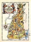 1950s Antique Animated NEW HAMPSHIRE State Map Vintage Picture Cartoon Map 3425