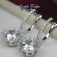 Round Huggie MadeWith Swarovski Crystal Dangle Stud Earrings18K WhiteGold Plated