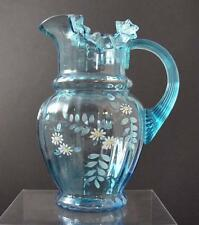 Vintage Hand Blown Blue Art Glass Handled Pitcher Enameled Hand Painted 9 3/4""