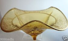 VINTAGE TIFFIN CUT GLASS AMBER BOWL,ETCHED FLAIR GOLD RIMS,SHELL SHAPED FEET