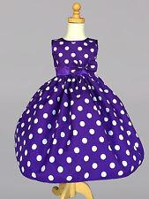 Purple Flower Girl Bridesmaids Summer Easter Pageant Recital Girl Dress#13
