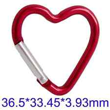 Aluminium Heart Carabiner Key Ring Snap Hooks Camping Hiking Red