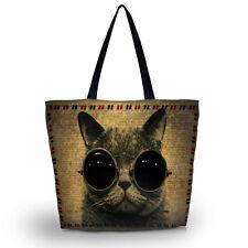 Cat Eco Shopping Travel Shoulder Bag Tote Handbag Folding Reusable Beach Mom Bag
