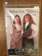 Riding Vest with Silk Ribbon Embroidery Sizes 8-18 1994 Pattern
