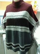 PONCHO LADIES MEDIUM SIZED MULTIE WARM COLOURS FRINGED HEM B.N.W.T.