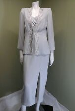 Ursula of Switzerland Gray Formal Event Embroidery 2 Pc Dress Suit~Size 6