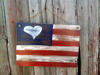 Handmade Wooden Sign...American Flag...Rustic Primitive Decor