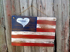 Handmade Wooden Sign...American Flag...Rustic Primitive Decor