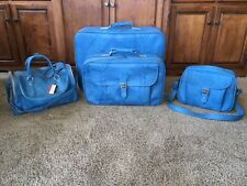 American Tourist Vintage 1978 BLUE 4 Piece Luggage Set Suitcase Carry On w/ Tags